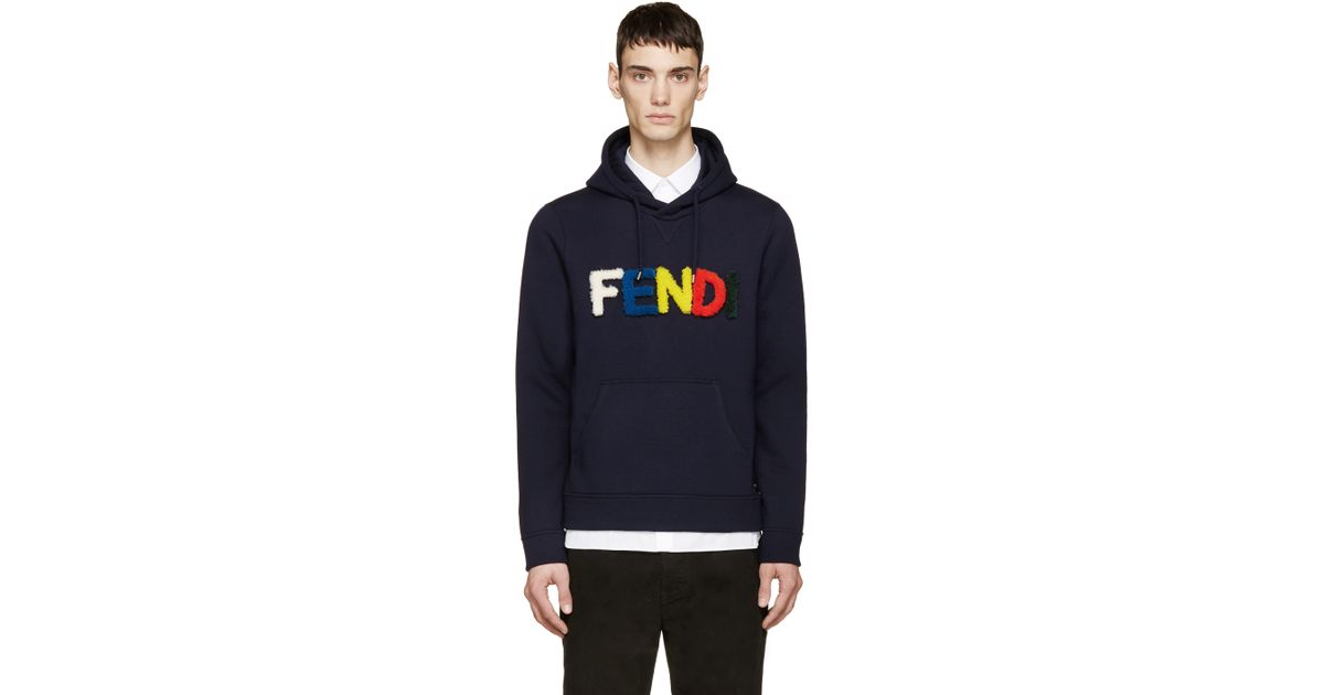 86fff93b Fendi Navy Shearling Velcro Logo Hoodie in Blue for Men - Lyst