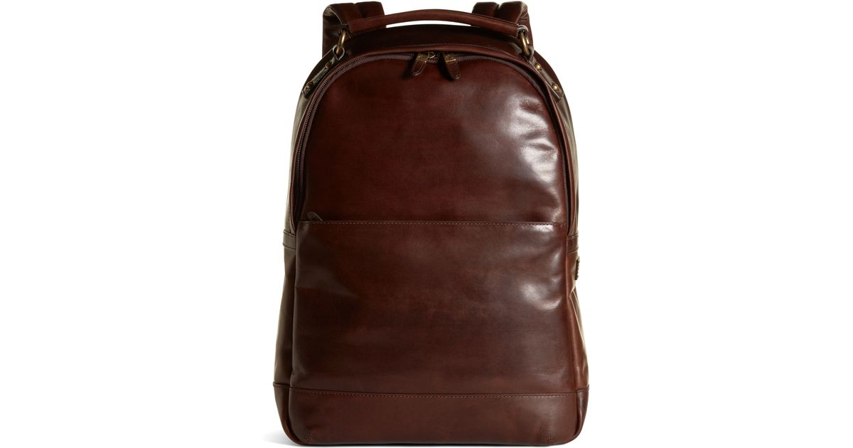 Lyst - Brooks brothers Distressed Leather Backpack in Brown