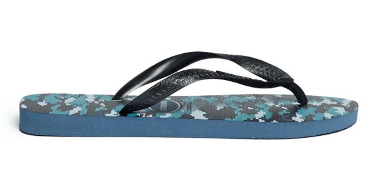Havaianas Camouflage Print Flip-Flops In Blue For Men -6940