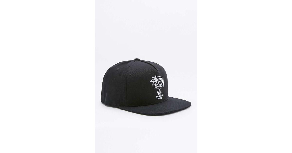 645d05efbf1 Stussy World Tour Black Canvas Snapback Cap in Black for Men - Lyst