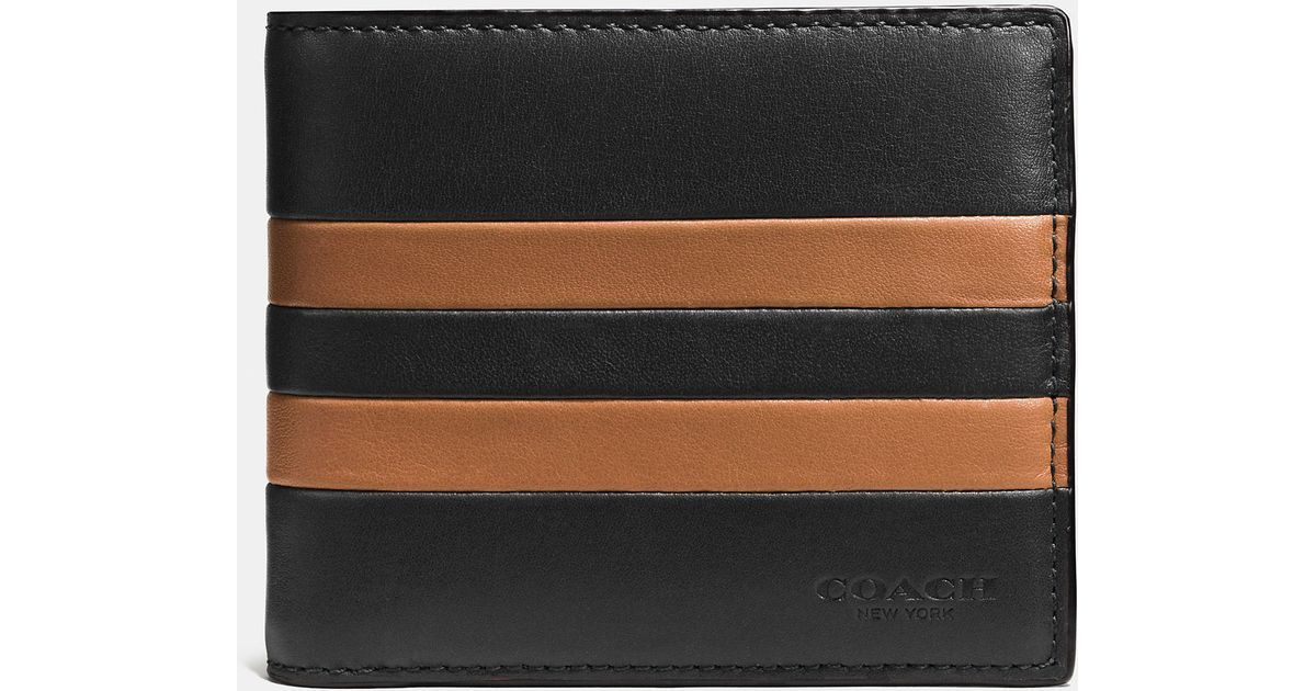 14dc67c7fb2e ... slim billfold wallet in smooth leather 71bf0 3c698  new style lyst coach  modern varsity stripe compact id wallet in sport calf leather in black