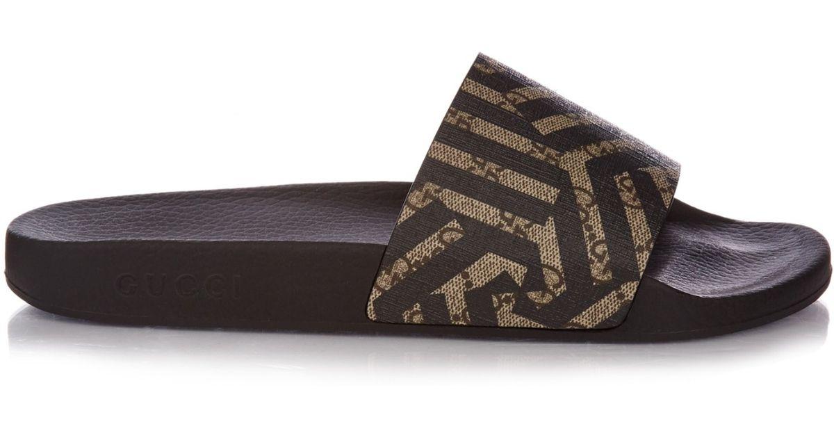 Creative Gucci Women39s Sandals Black Patent Leather Shoes GG Logo Slides