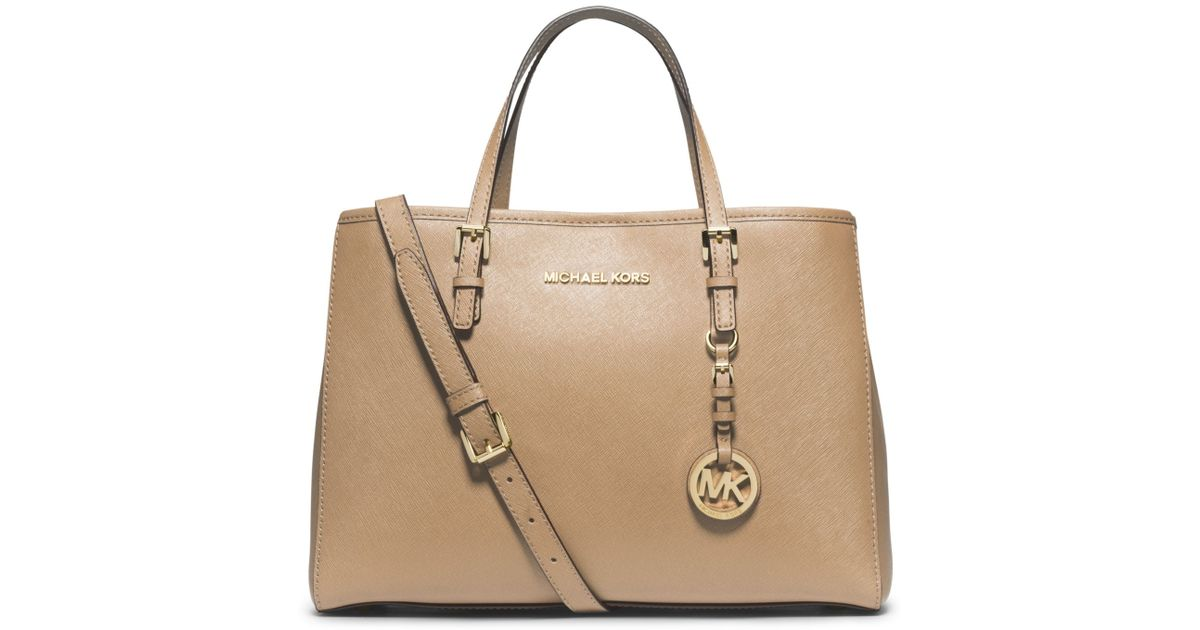 b0db8f77106318 ... release date lyst michael kors jet set travel saffiano leather medium  tote in brown 673ab 00434 ...