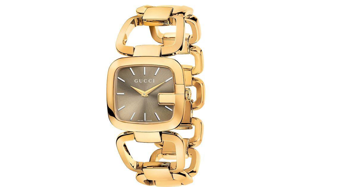 4eaf6be4c32 Lyst - Gucci Ya125408 Women s G- Gold Plated Bracelet Strap Watch in  Metallic