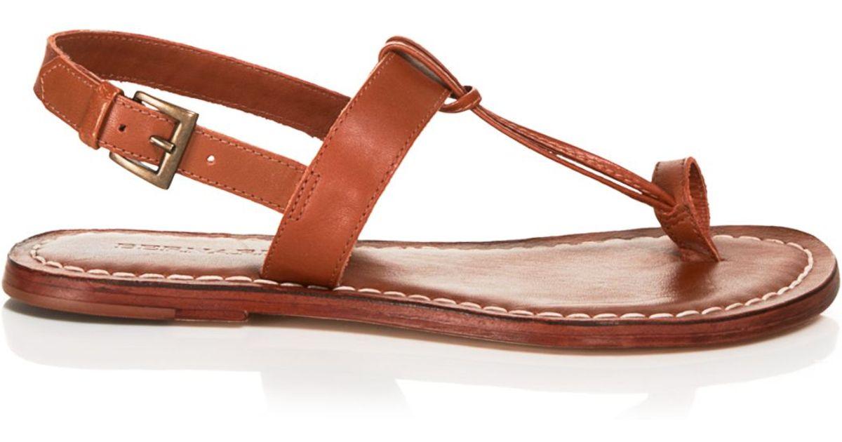 84c295e739a Lyst - Bernardo Flat T-strap Sandals - Maverick Toe Ring in Brown