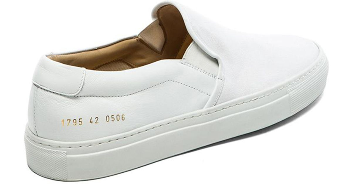 e47187a61b75 Lyst - Common Projects Canvas And Leather Slip On in White for Men