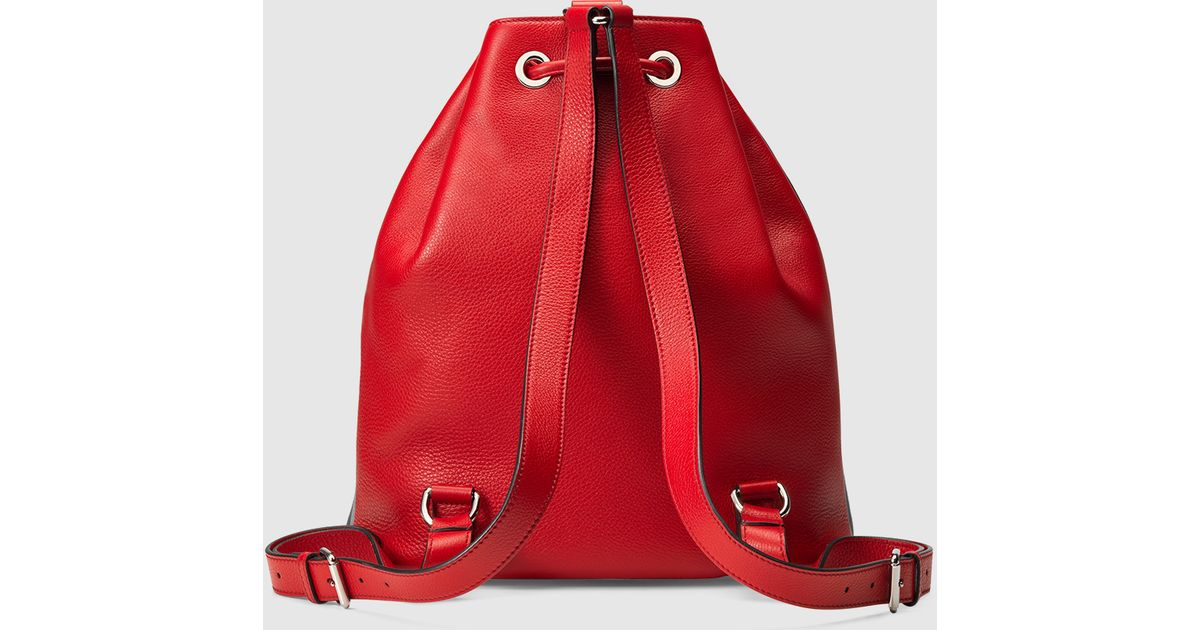 b868ac3f1c1 Lyst - Gucci Soho Leather Drawstring Backpack in Red