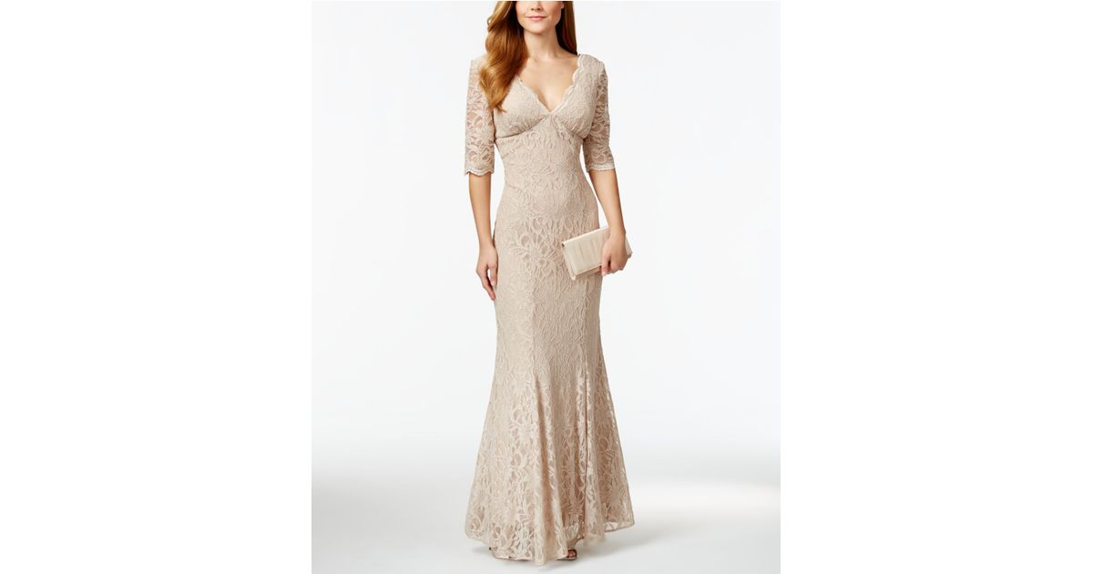 bec7ca7aec8 Lyst - R   M Richards R m Richards V-neck Glitter Lace Trumpet Gown