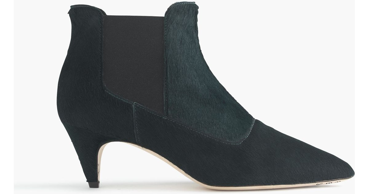 j crew collection calf hair kitten heel chelsea boots in