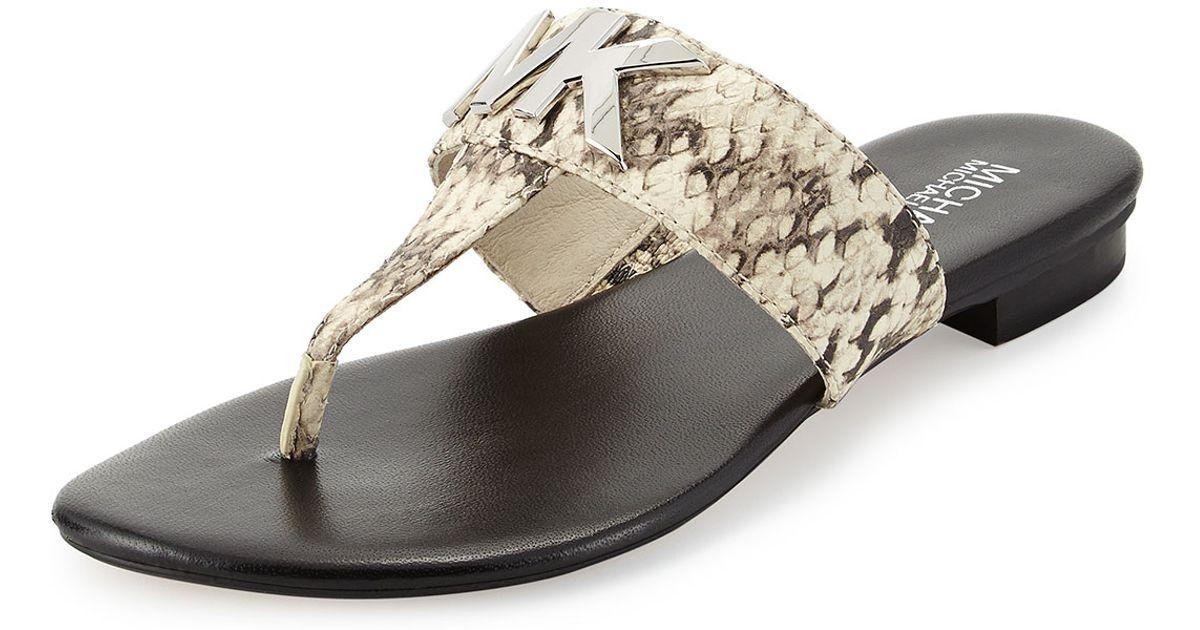 adaefaa6bbd6 Lyst - MICHAEL Michael Kors Hayley Mk Snake-Print Thong Sandal