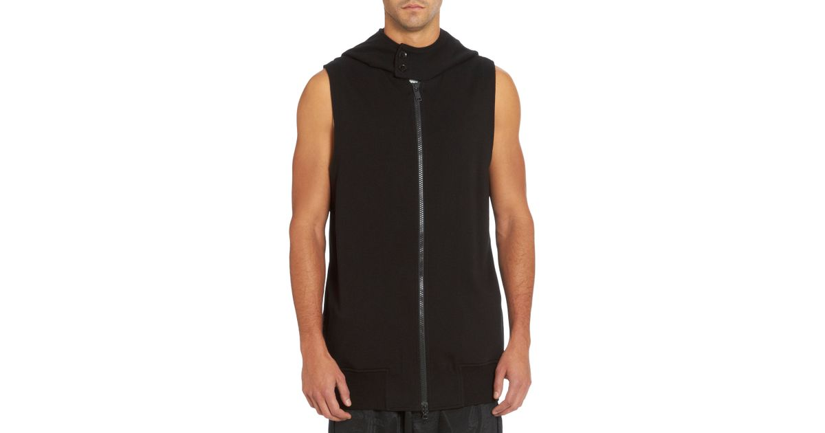 Y-3 Oversized Sleeveless Hoodie in Black for Men | Lyst