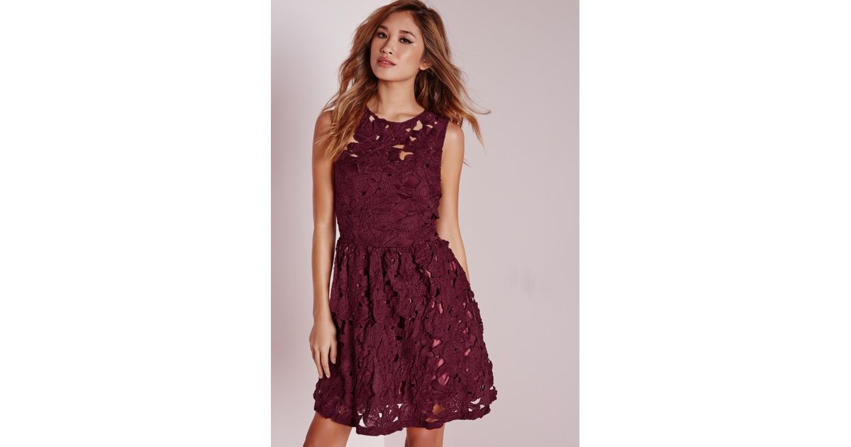 90abc96d3e27 Lyst - Missguided Sleeveless Lace Skater Dress Plum in Purple
