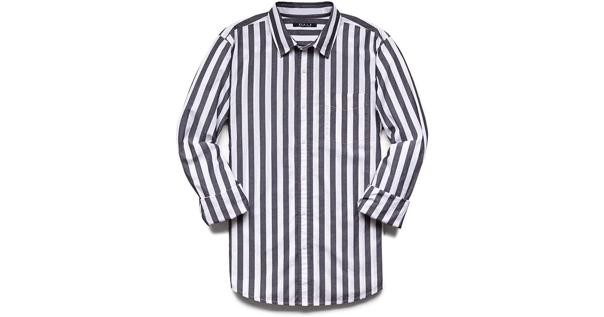 Lyst - Forever 21 Vertical Striped Classic Fit Shirt in White for Men