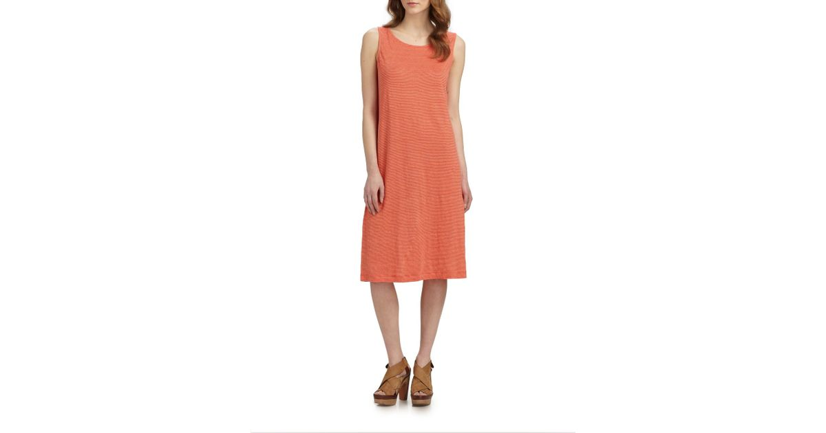 8ca31527126 Lyst - Eileen Fisher Striped Linen Tank Dress in Red