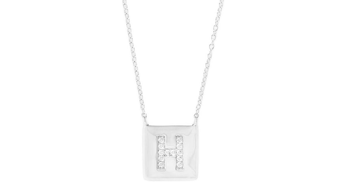 Lyst argento vivo cubic zirconia initial pendant necklace in metallic mozeypictures Image collections