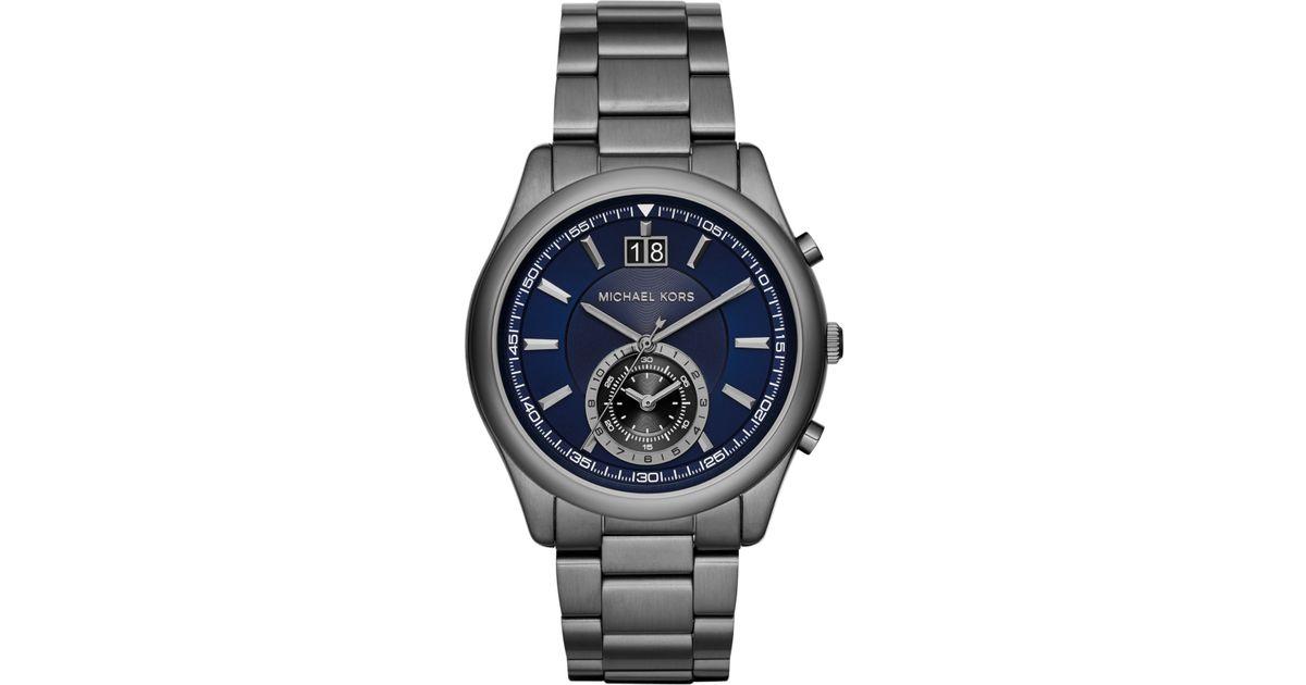 michael kors men s chronograph aiden gunmetal tone stainless steel michael kors men s chronograph aiden gunmetal tone stainless steel bracelet watch 43mm mk8418 in metallic for men lyst
