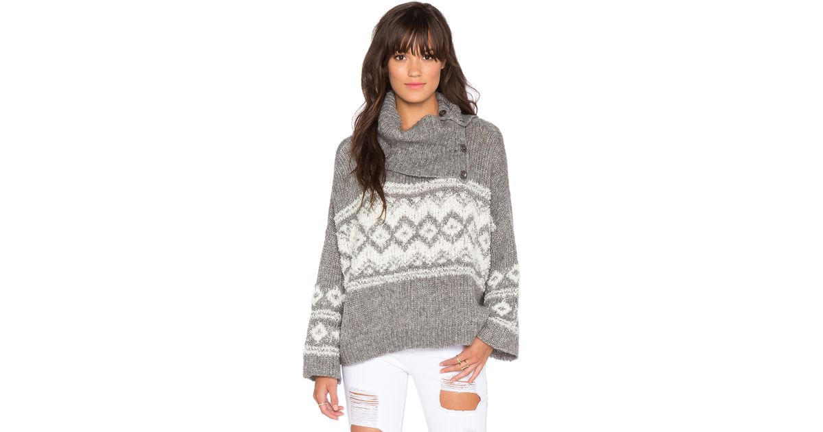 Lyst - Free people Fairisle Split Neck Sweater in Gray