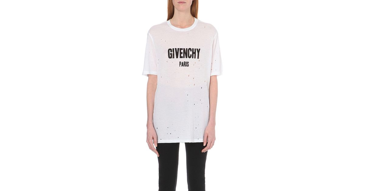 82ca646d53049 Lyst - Givenchy Distressed Cotton-jersey T-shirt in White