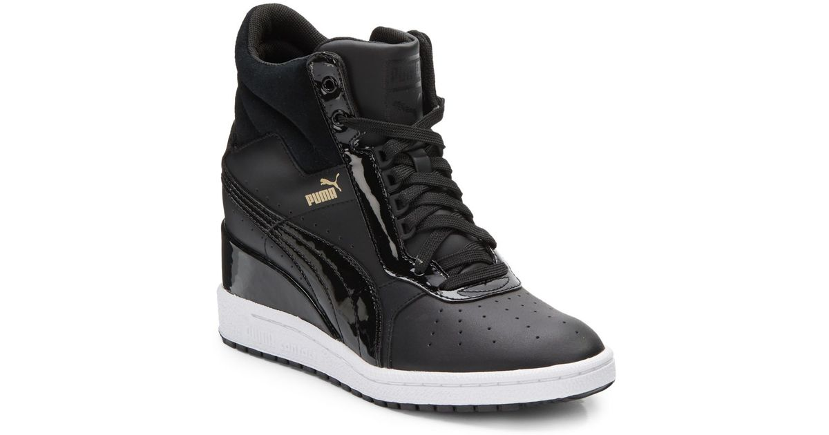 9a26cacf9ab Lyst - PUMA Advantage Leather Wedge Sneakers in Black