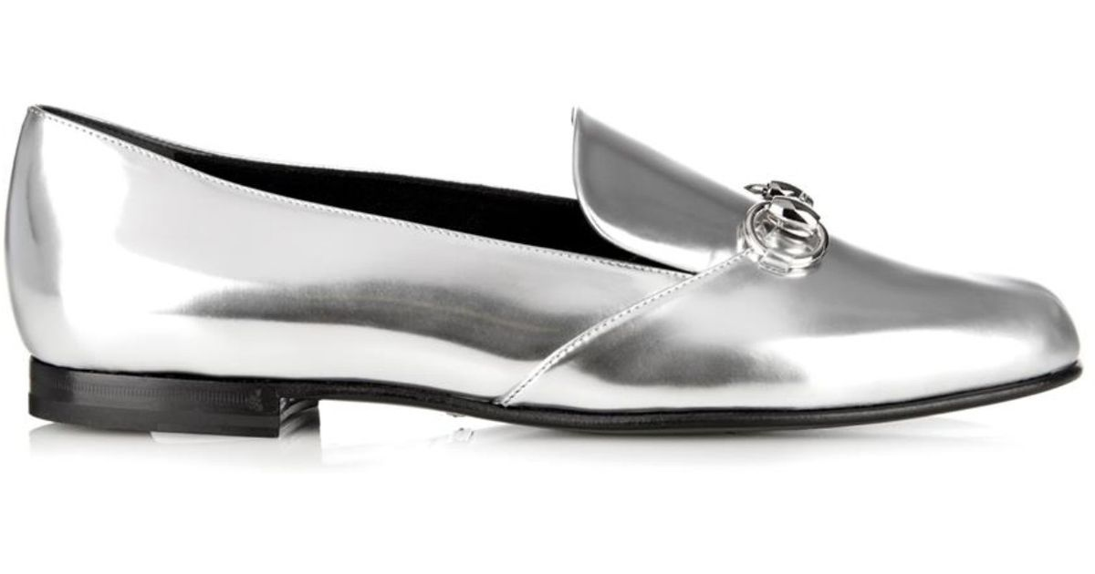 1cab8cc9c Gucci Kira Leather Horsebit Loafers in Metallic - Lyst