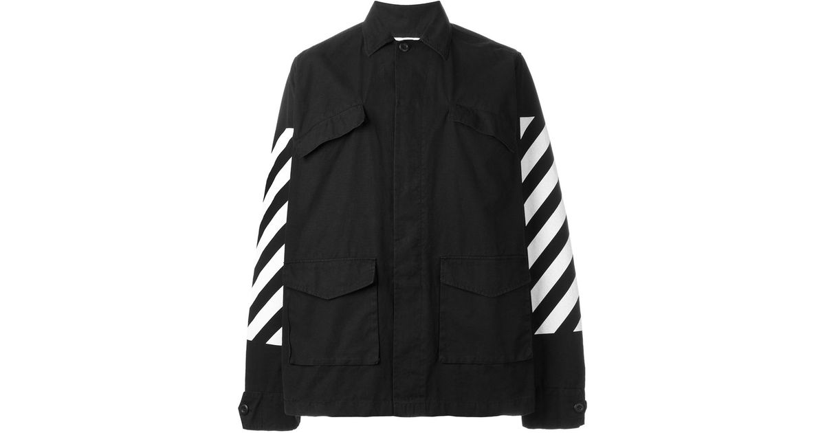 Lyst - Off-White c o Virgil Abloh Striped Cargo Jacket in Black for Men b763c05c5e12