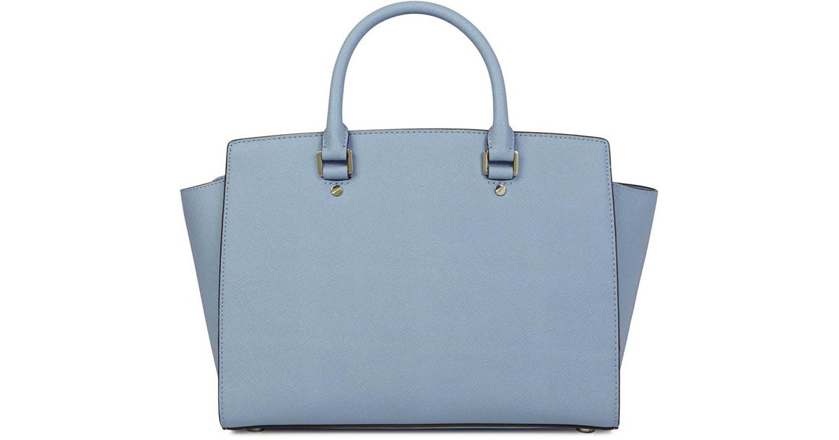 cc565ef84d98 ... best price michael kors selma light blue saffiano leather tote in blue  lyst cdad4 f6931