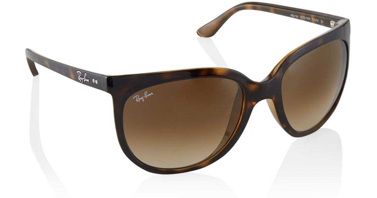 fdf386146 canada amazon new ray ban cats 1000 rb4126 710 51 tortoise light brown  gradient 57mm sunglasses clothing c14a5 336e5; reduced lyst ray ban  tortoiseshell ...