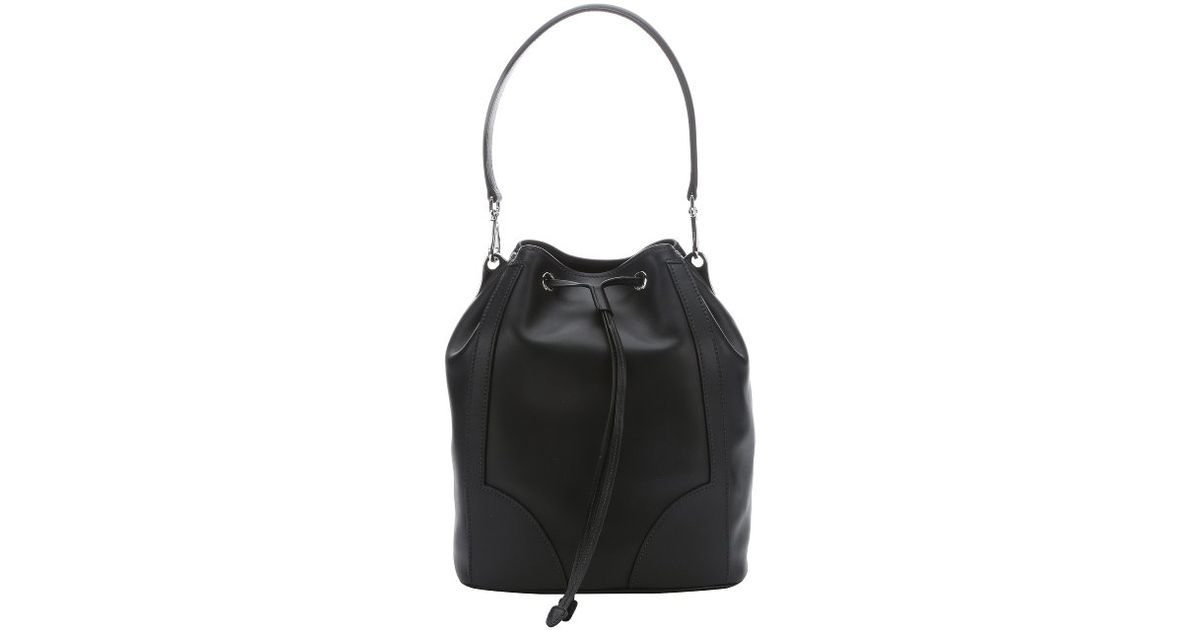 Prada Black Calfskin \u0026#39;city Sport\u0026#39; Bucket Shoulder Bag in Black | Lyst