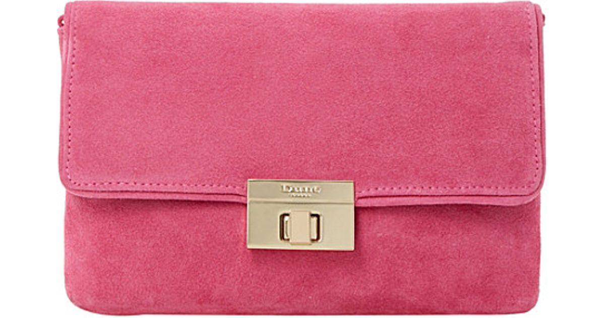 Favorite Lyst - Dune Brandy Suede Clutch Bag Bag - For Women in Pink GJ13