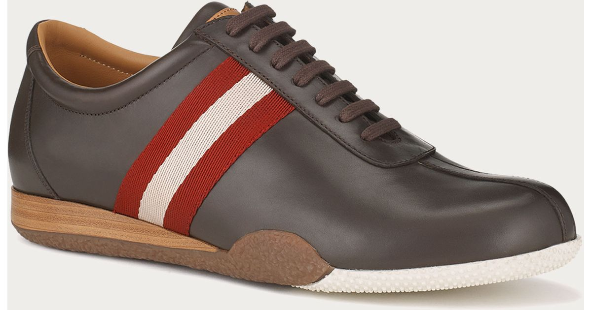bally freenew leather sneaker in brown for lyst