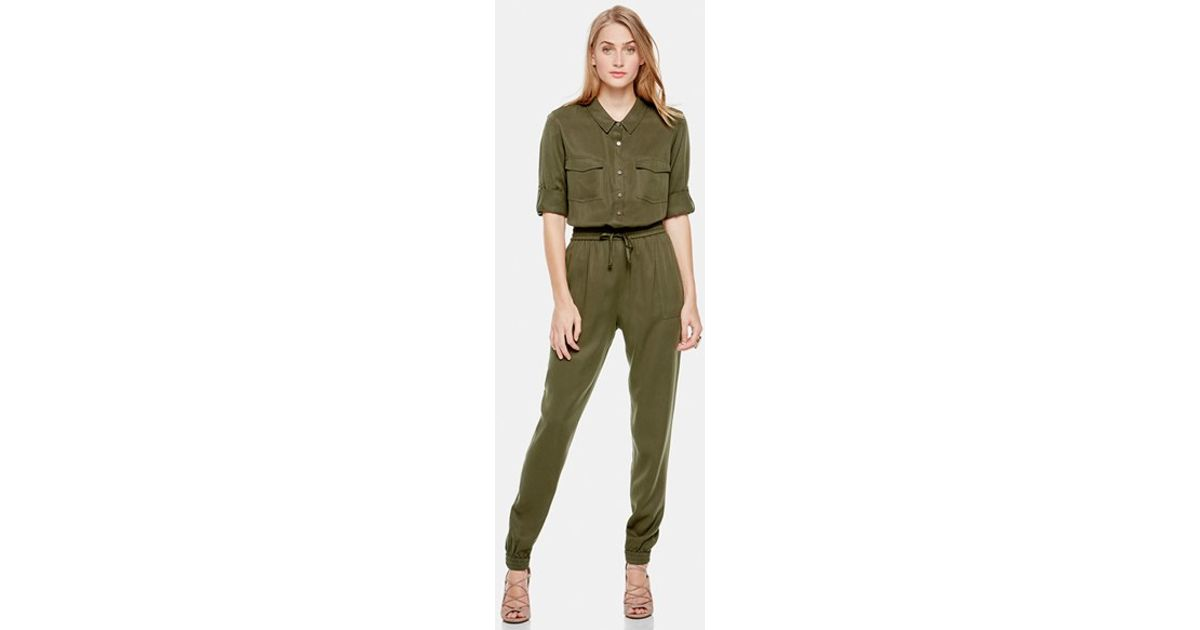 41eb571e1189 Two By Vince Camuto - Green Tencel Utility Jumpsuit - Lyst