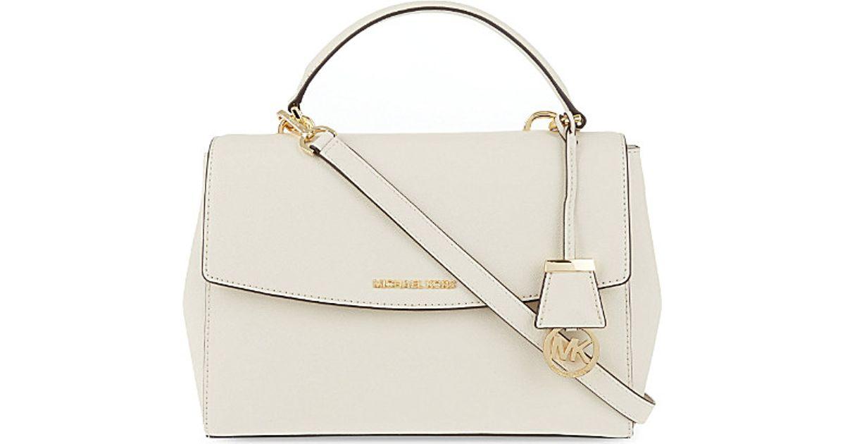 94bd830e6908 MICHAEL Michael Kors Ava Medium Saffiano Leather Satchel in White - Lyst