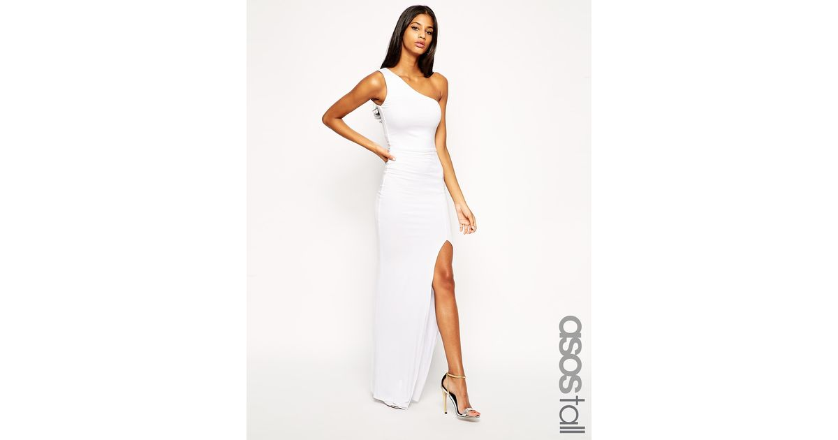 Lyst Asos Exclusive One Shoulder Maxi Bodycon Dress In White