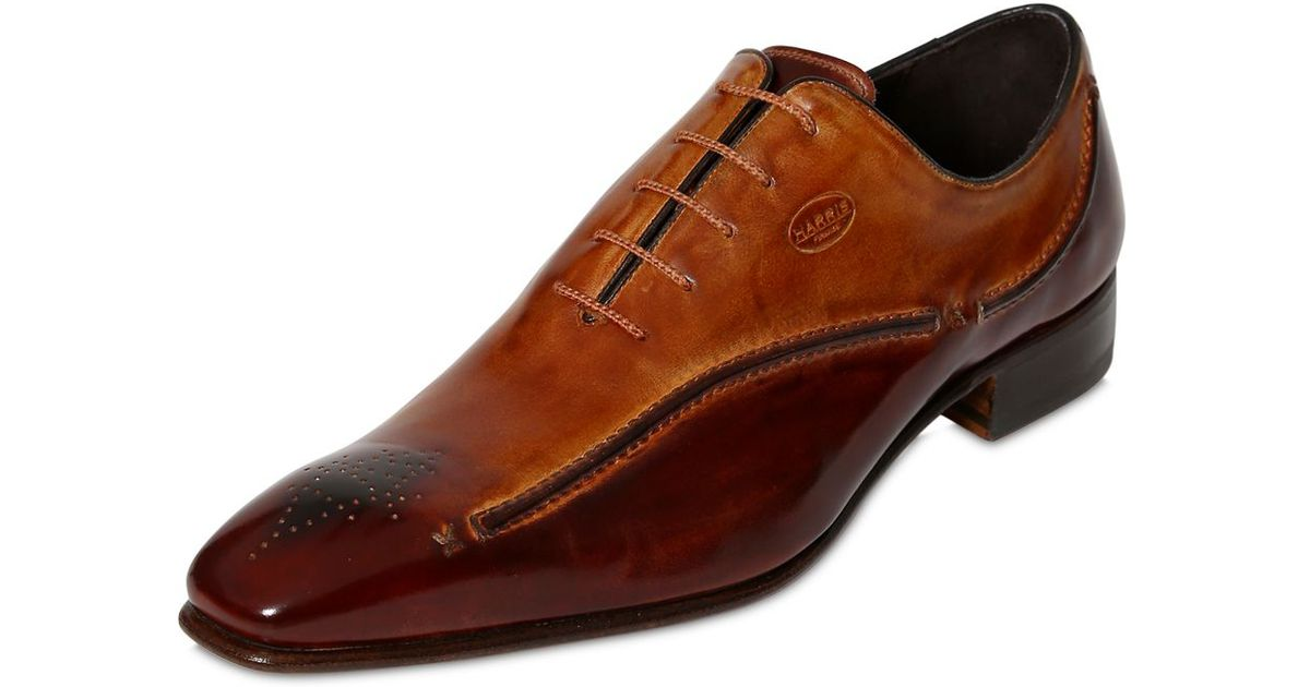 harris handmade leather shoes with 3d stitching in brown