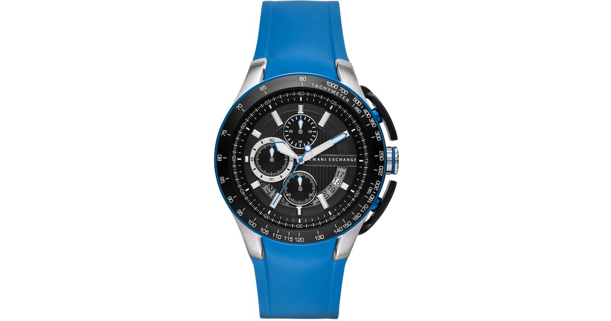 d36259988184 Lyst - Armani Exchange Ax Armani Exchange Mens Chronograph Blue Silicone  Strap Watch 45mm in Blue for Men