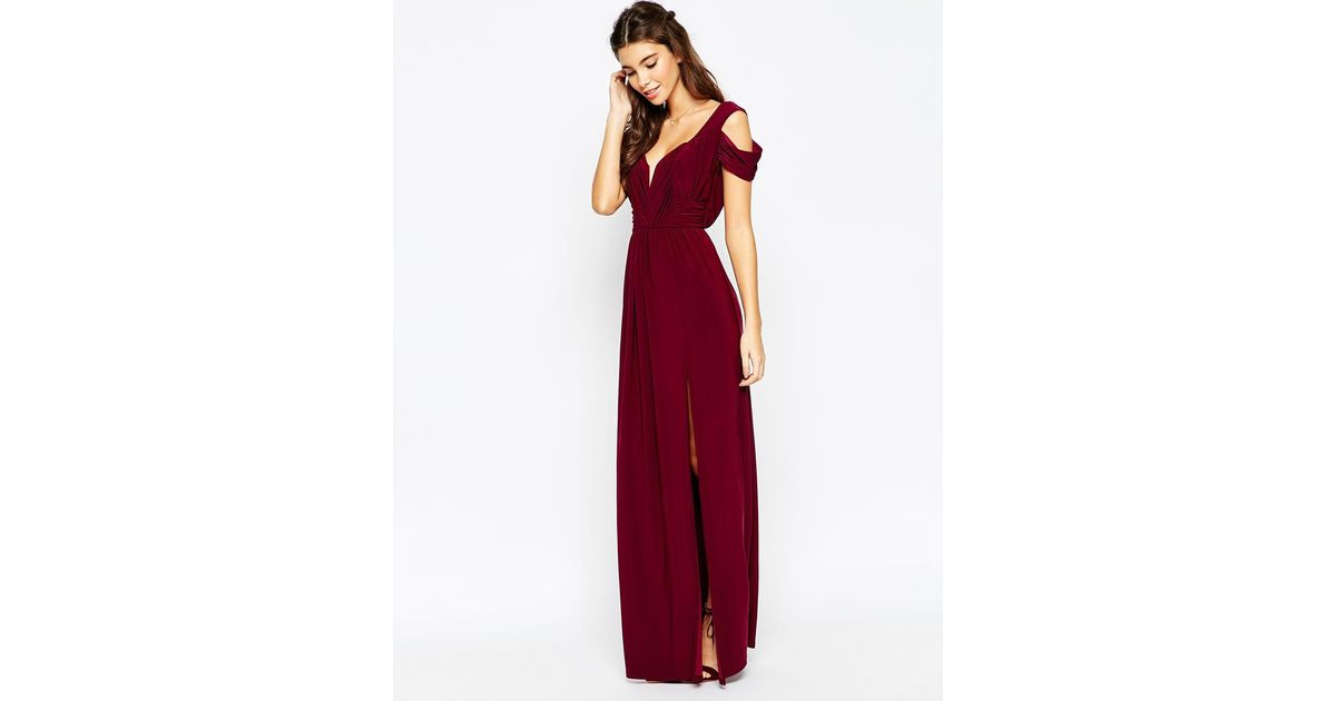 Lyst - Asos Wedding Drape Cold Shoulder Maxi Dress in Purple