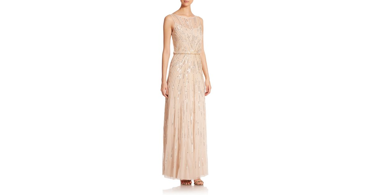 77e7821ff3467b Lyst - Aidan Mattox Sequin Blouson Bridesmaid Gown in Metallic