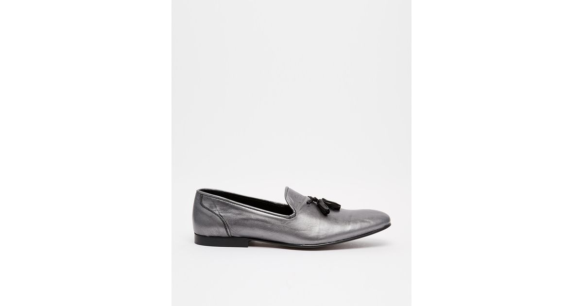 91c3a22ab96 Lyst - ASOS Tassel Loafers In Metallic Leather in Metallic for Men