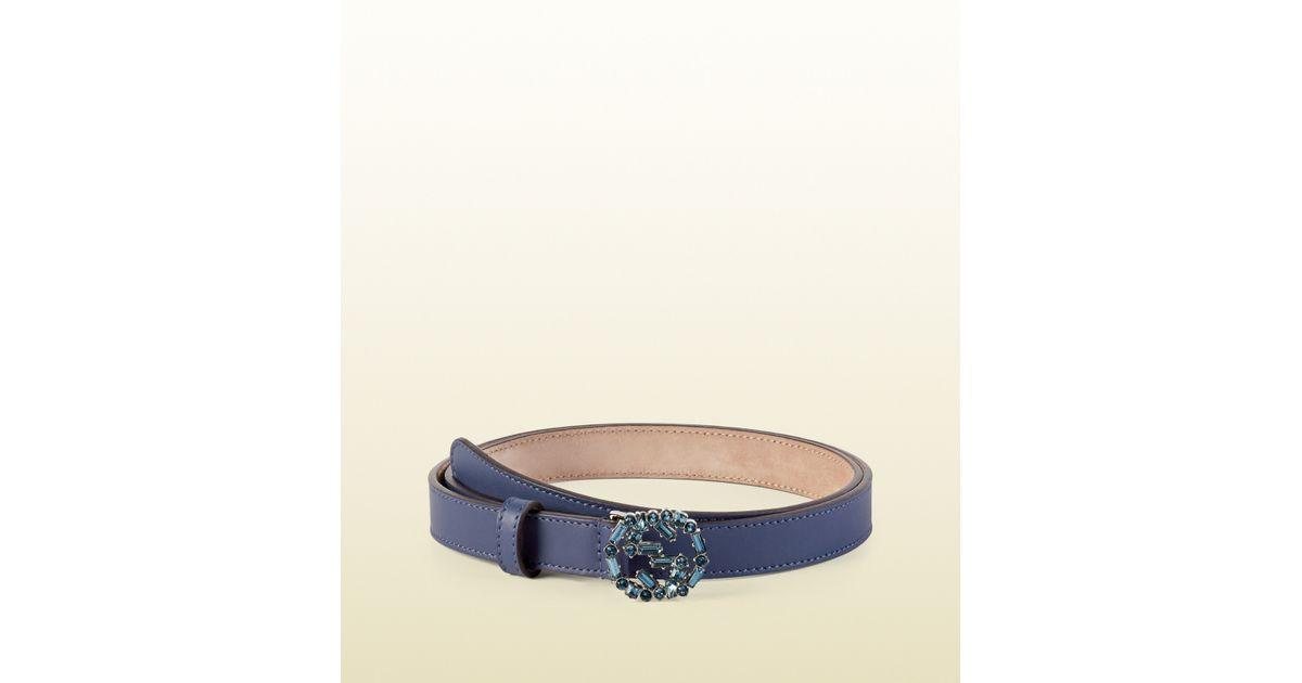 636a6b001a4 Gucci Thin Leather Belt With Crystal Interlocking G Buckle in Blue - Lyst