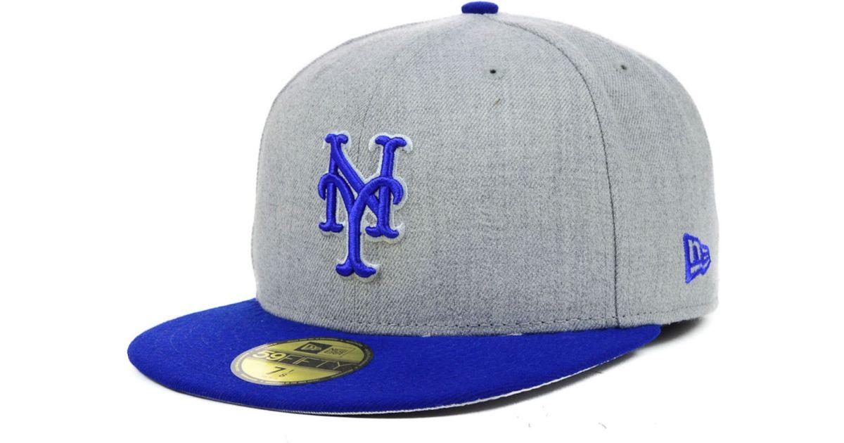 meet 688d4 e7bc8 ... hot ktz blue new york mets mlb heather basic 59fifty cap for men lyst  9d681 601a5