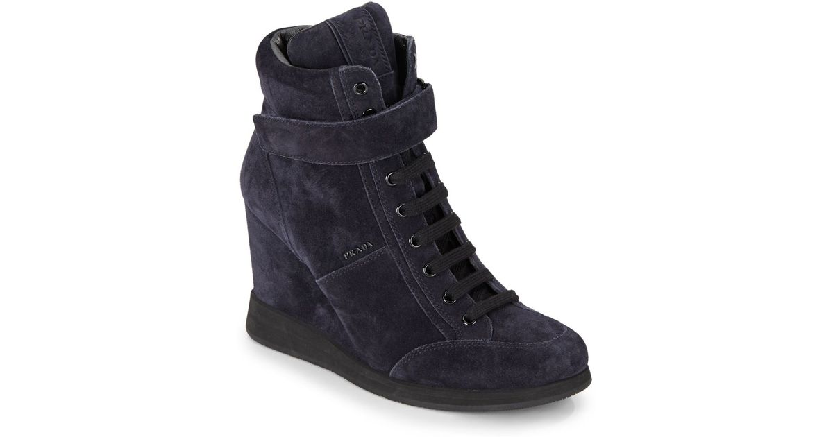 15bdb2664d16 Lyst - Prada Suede High-top Wedge Sneakers in Blue