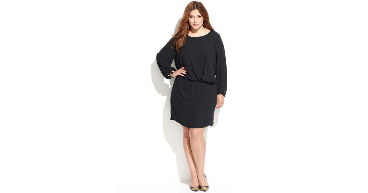 Lyst Vince Camuto Plus Size Longsleeve Blouson Dress In Black