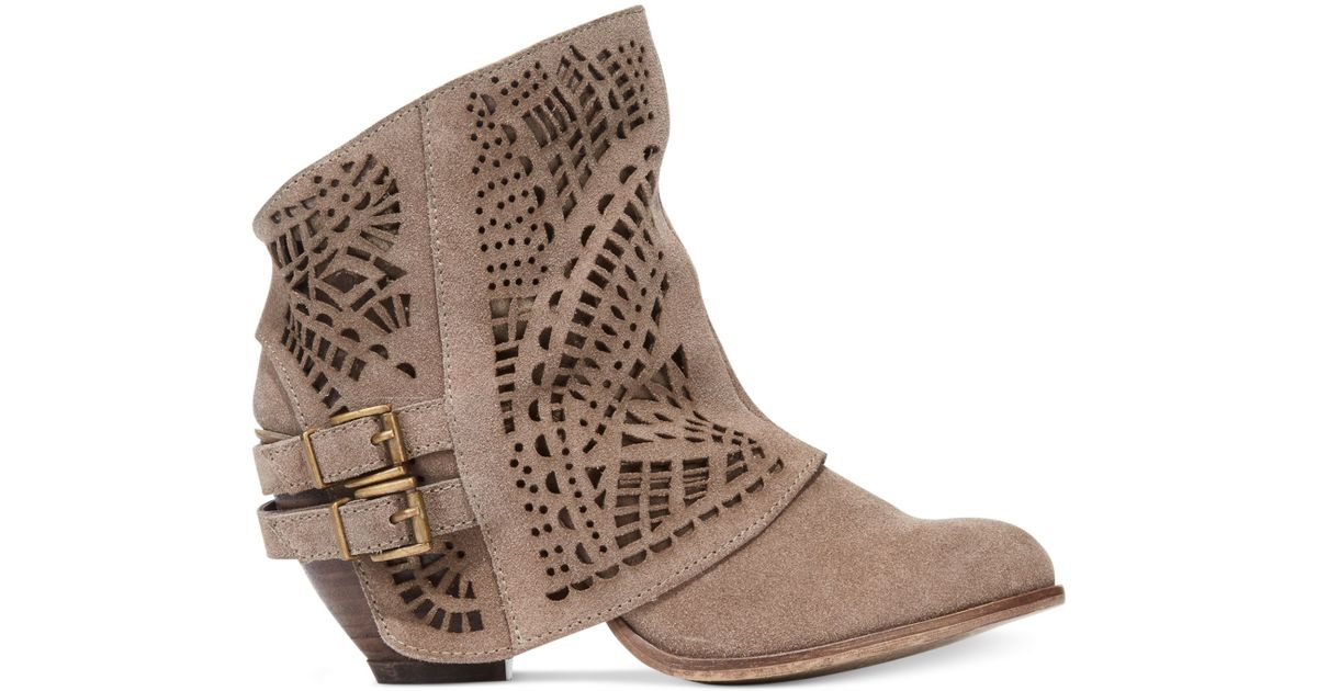 8fc866be334 Naughty Monkey Love Story Laser Cut Booties in Brown - Lyst