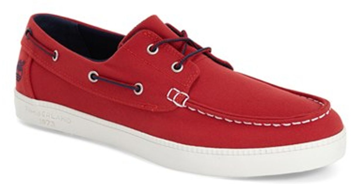 77fceceff97c Lyst - Timberland  newport Bay  Boat Shoe in Red for Men