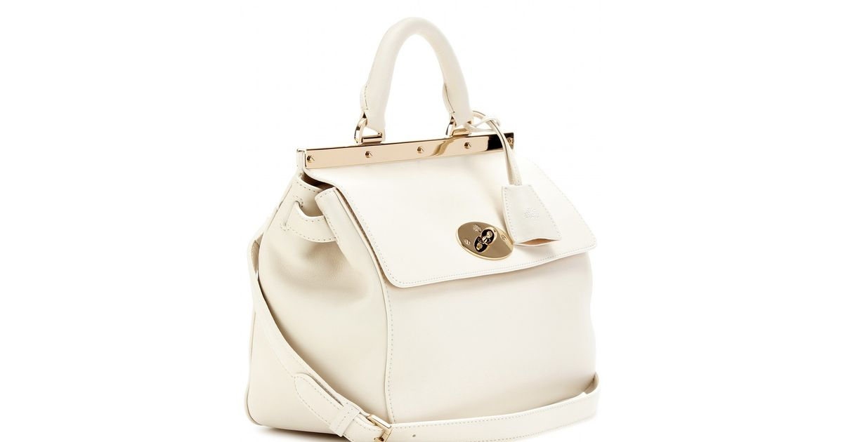 13cb738fce5b Mulberry Suffolk Small Leather Shoulder Bag in White - Lyst