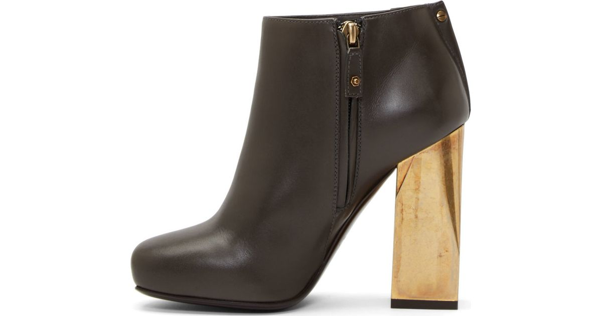 Lyst Lanvin Black Leather Gold Heel Boots In Black