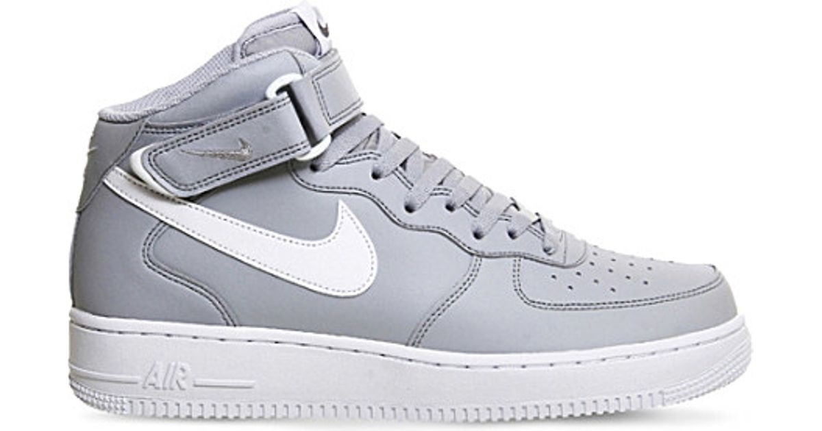 reputable site 5c356 1e2f9 Nike Air Force 1 Leather High-top Trainers in Gray for Men - Lyst