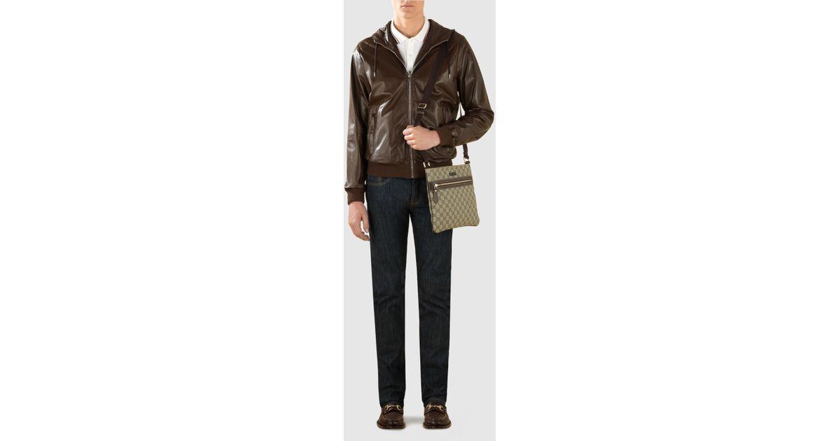2bdd886f98af Gucci Gg Supreme Flat Messenger Bag in Brown - Lyst