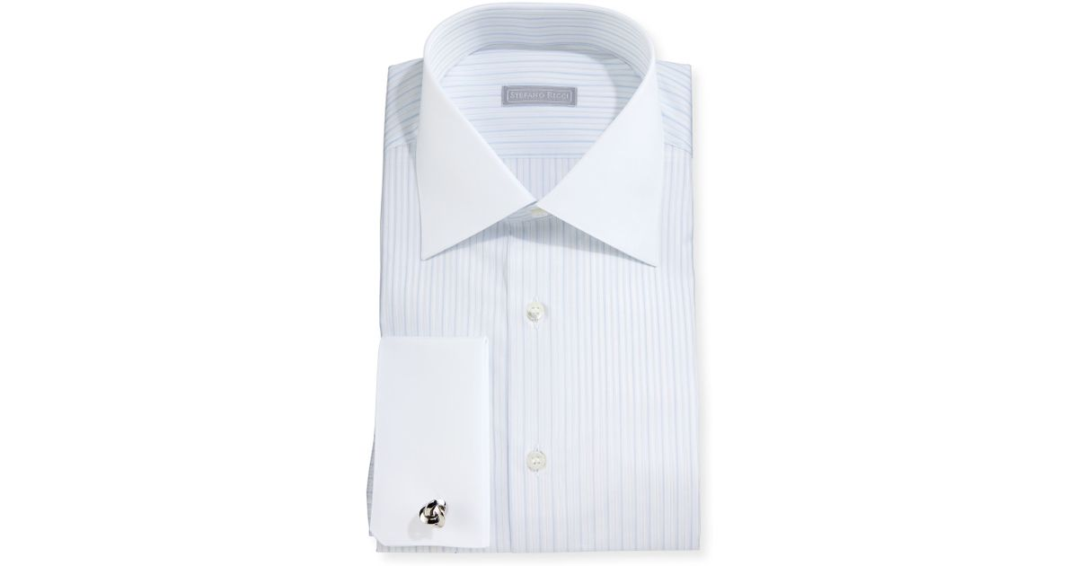 Stefano ricci contrast collar striped french cuff dress for Mens dress shirts with contrasting collars and cuffs