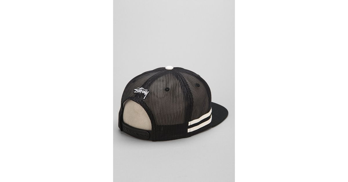 f80c7d5d3fd Lyst - Stussy Mesh Trucker Hat in Black for Men